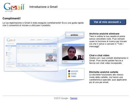 Gmail: schermata di benvenuto