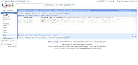 Gmail: schermata di base del servizio di posta elettronica