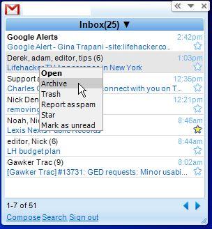 Gmail Google Gadgets per il desktop