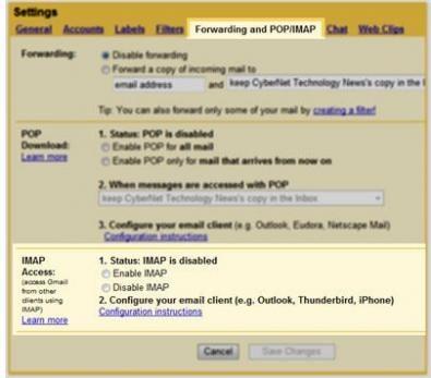Gmail IMAP screenshot