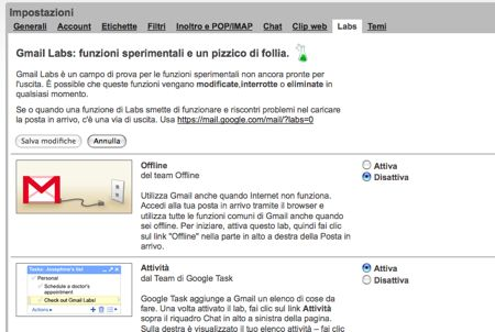 Gmail labs in italiano