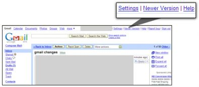 Gmail newer version screenshot