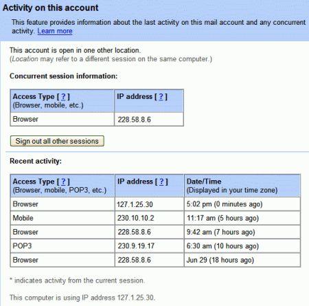 dettagli privacy gmail