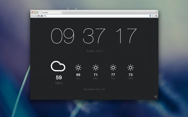 Google Chrome addons: Currently, ora e meteo in una scheda vuota del browser