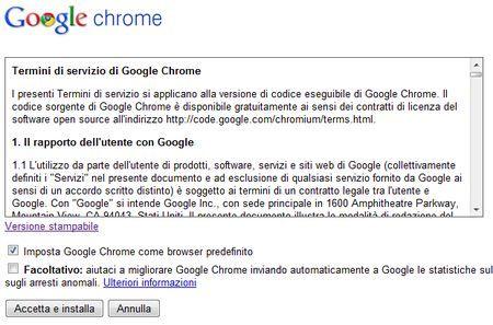 google chrome installazione