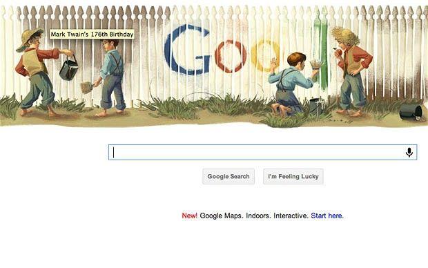 google doodle mark twain