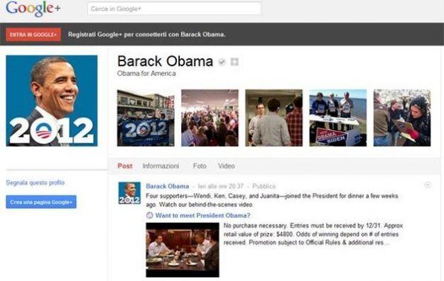 Su Google Plus c'è anche Obama: il presidente apre una pagina