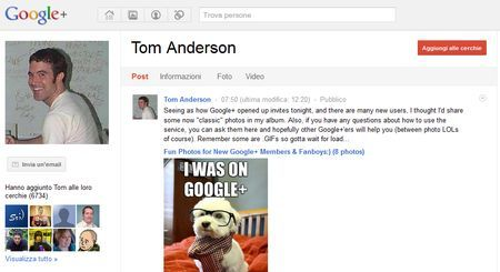Su Google+ c'è anche Tom Anderson, cofondatore di MySpace