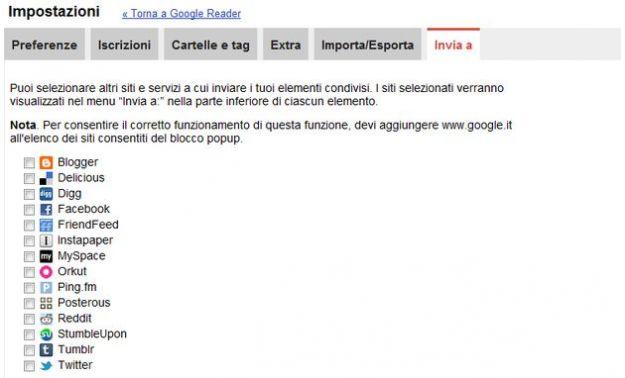 google reader condivisione social network