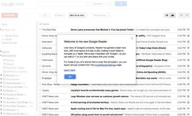 google reader nuova grafica