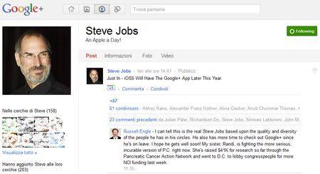 Google+ affascina anche Steve Jobs