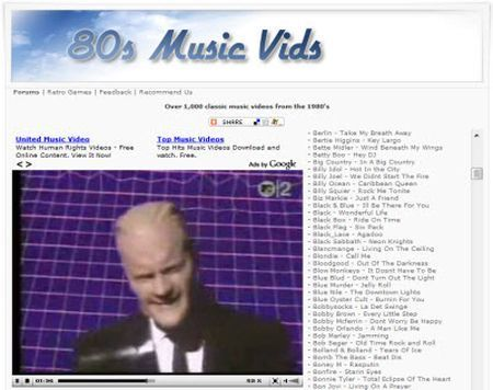 Video musica anni 80 con 80′s Music Vids