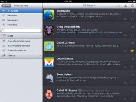 iPad social network twitterrific