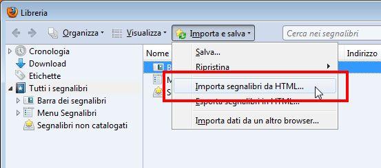 importare preferiti html