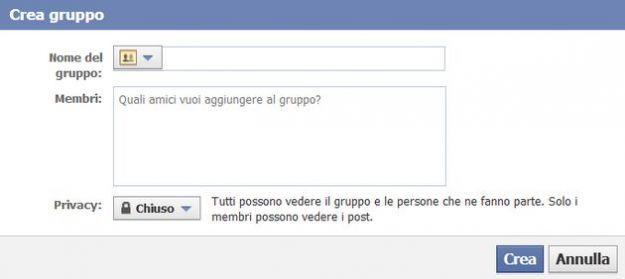 impostazioni creare gruppo facebook