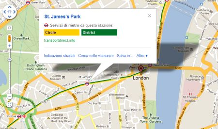 Google Mappe adesso con indicazione del trasporto pubblico di Londra