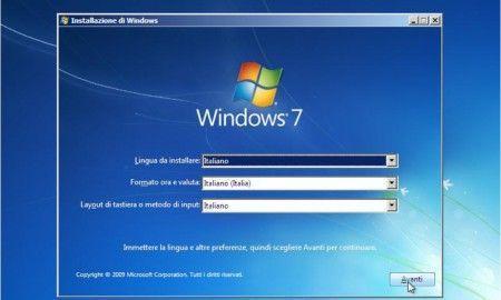 installare windows 7 schermate