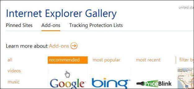 Internet Explorer: Addons e componenti aggiuntivi da scaricare