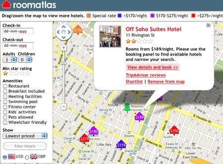 Cercare alberghi su internet con RoomAtlas
