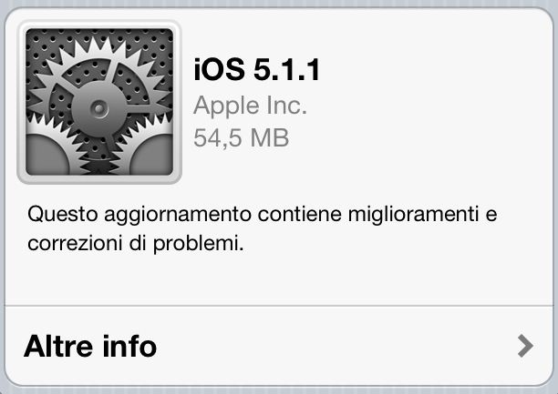 Aggiornamento iOS 5.1.1 per iPad, iPhone e iPod Touch
