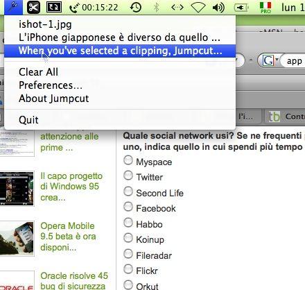 Jumpcut: estendere la memoria della clipboard del vostro Mac