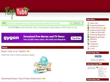 Keep Tube: scaricare video da YouTube e non solo, anche in HD