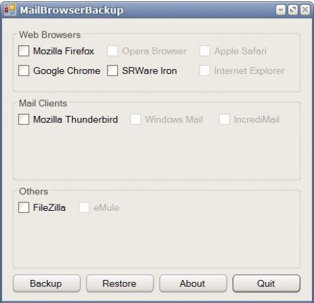 Mail Browser Backup salva i dati di browser e client e-mail