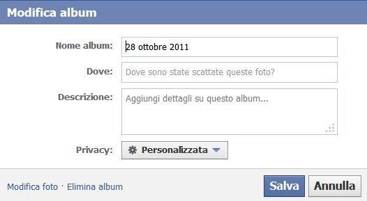 modificare album facebook