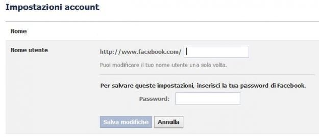 modificare nome utente facebook account
