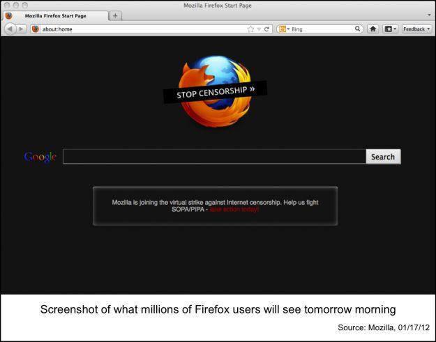 Mozilla si unisce agli altri siti web nella protesta contro il SOPA
