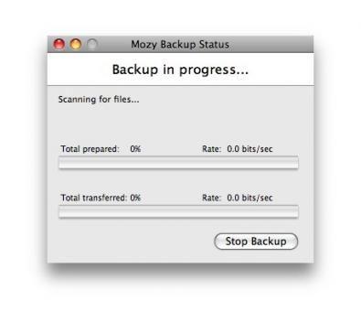 mozy screenshot backup status