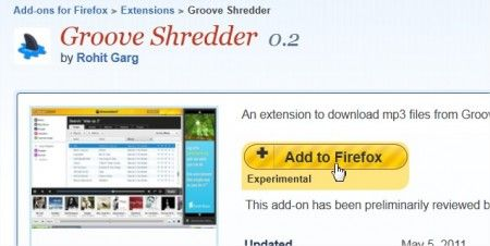 Add-ons per Firefox 4: scaricare musica gratis dal browser con Groove Shredder