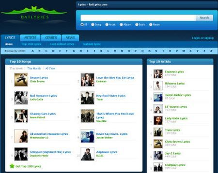 Musica su internet: testi e video con BatLyrics