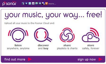Ascoltare musica su internet con Psonar
