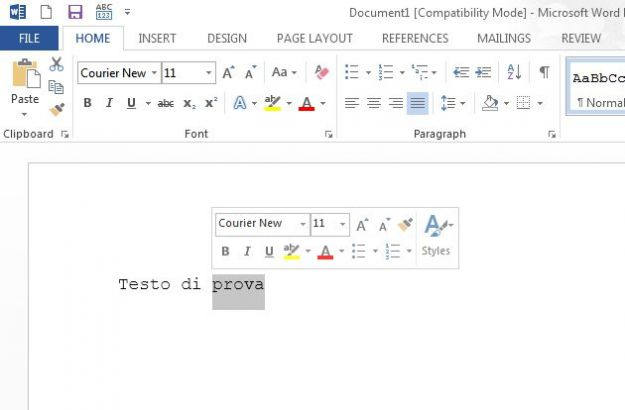 office 2013 trucchi mini toolbar