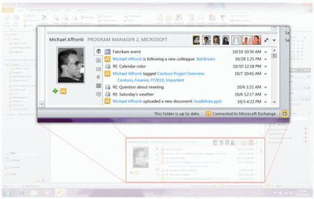 Outlook 2010 integra i social network