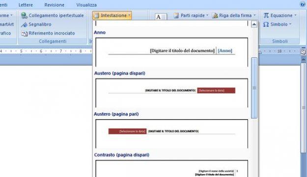 pagina word intestazione