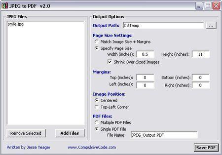 Salvare immagini Jpeg in formato PDF