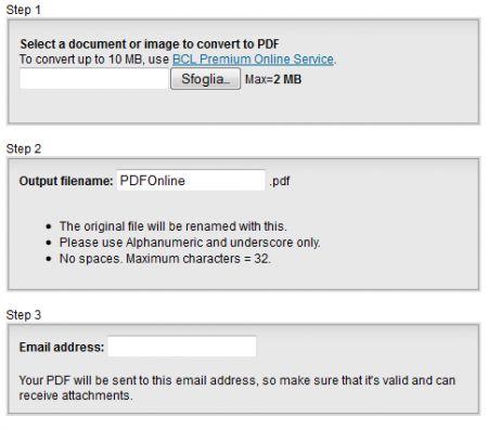 Convertire file in PDF online e gratuitamente con pdfonline