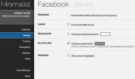 personalizzare facebook minimalist