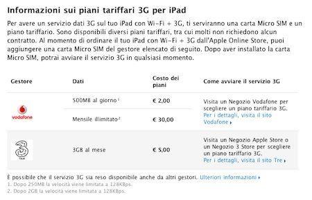 Schermata comparativa dei piani dati di Vodafone e Tre per iPad 3G