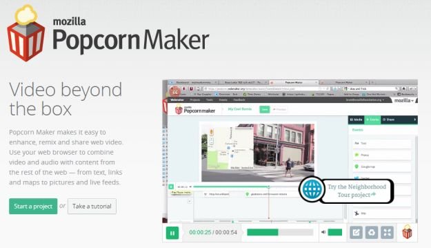 Da Mozilla la web app per videomaker: Popcorn Maker