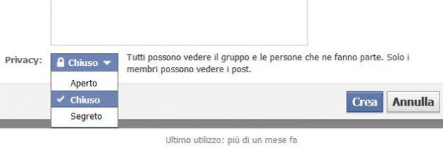 privacy gruppo facebook