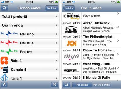 Programmi digitale terrestre: consultare i palinsesti su iPhone o iPad