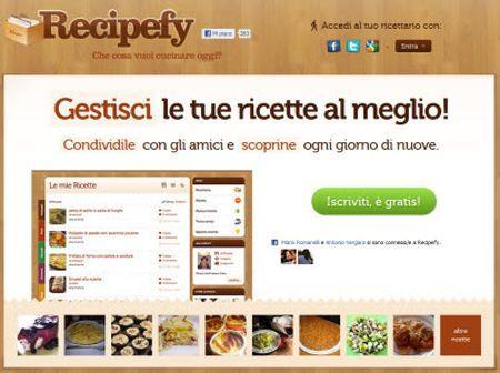 ricette online con il social network recipefy trackback