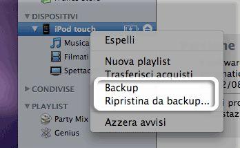 ripristinare backup iphone