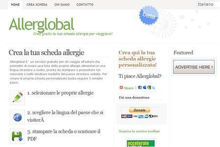 Creare una scheda delle allergie con Allerglobal