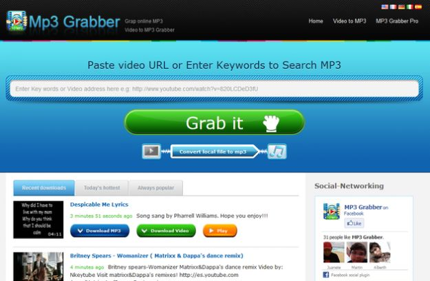scaricare audio video mp3grabber