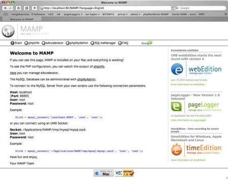 schermata iniziale di MAMP