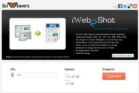 Screenshot di pagine web con iWeb2Shot